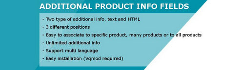 Additional Product Info Fields OpenCart v1.2